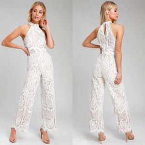 NWT LULU'S BRITNEY WHITE LACE HALTER JUMPSUIT